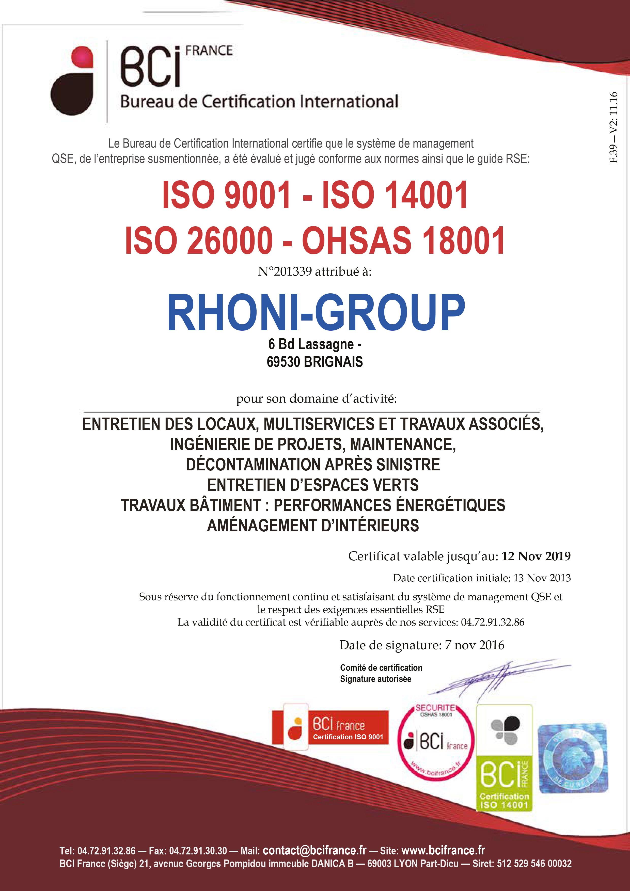 Certificat BCI 2013-2016