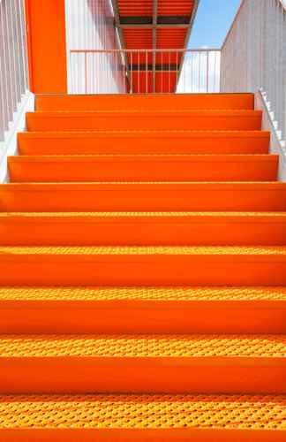 Detail of orange steel stairway